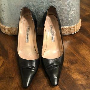 Manolo Blahink   Genuine Leather Black Heels